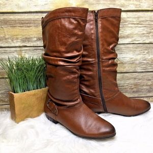 ALDO Brown Leather Ruched Pleated Buckle Boots
